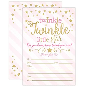 Amazon Com Twinkle Twinkle Little Star Baby Shower Invitations