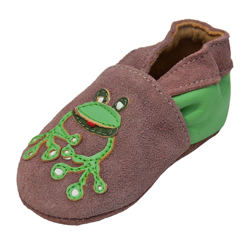 Lappade Lauflernschuhe Lederschuhe Hausschuhe Krabbelschuhe Baby mit Gummisohle Gr.19-31 Froschi Beige-grün Ledermix 240G