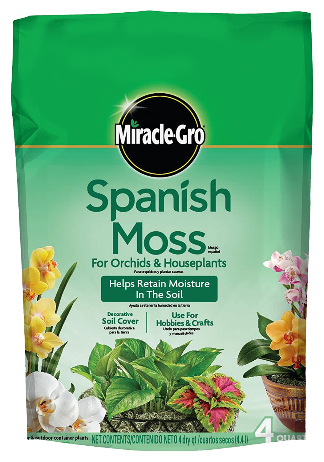 Miracle-Gro Spanish Moss For Hobbies, Crafts or as a Decorative Soi... 4-Quart