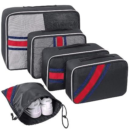 b4837e00e728 5 pcs Packing Cube Set, YAMTION Oxford Lightweight Travel Luggage Packing  Organizers Packing Cubes(Black)