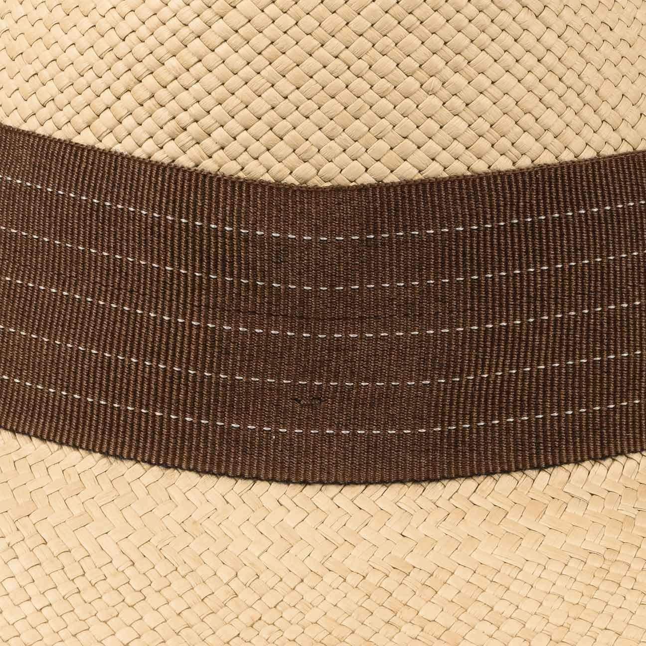 Lierys Cappello Panama Brown Rockfall by Uomo Made in Ecuador Estivo Paglia da Sole con Nastro Grosgrain Primavera//Estate