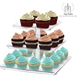 Utenlid Acrylic 3-Tier Square Stacked Party Cake Stand with Borders and Stable Screw-On Pillars - Tiered Cupcake Stand / Cupcake Tower