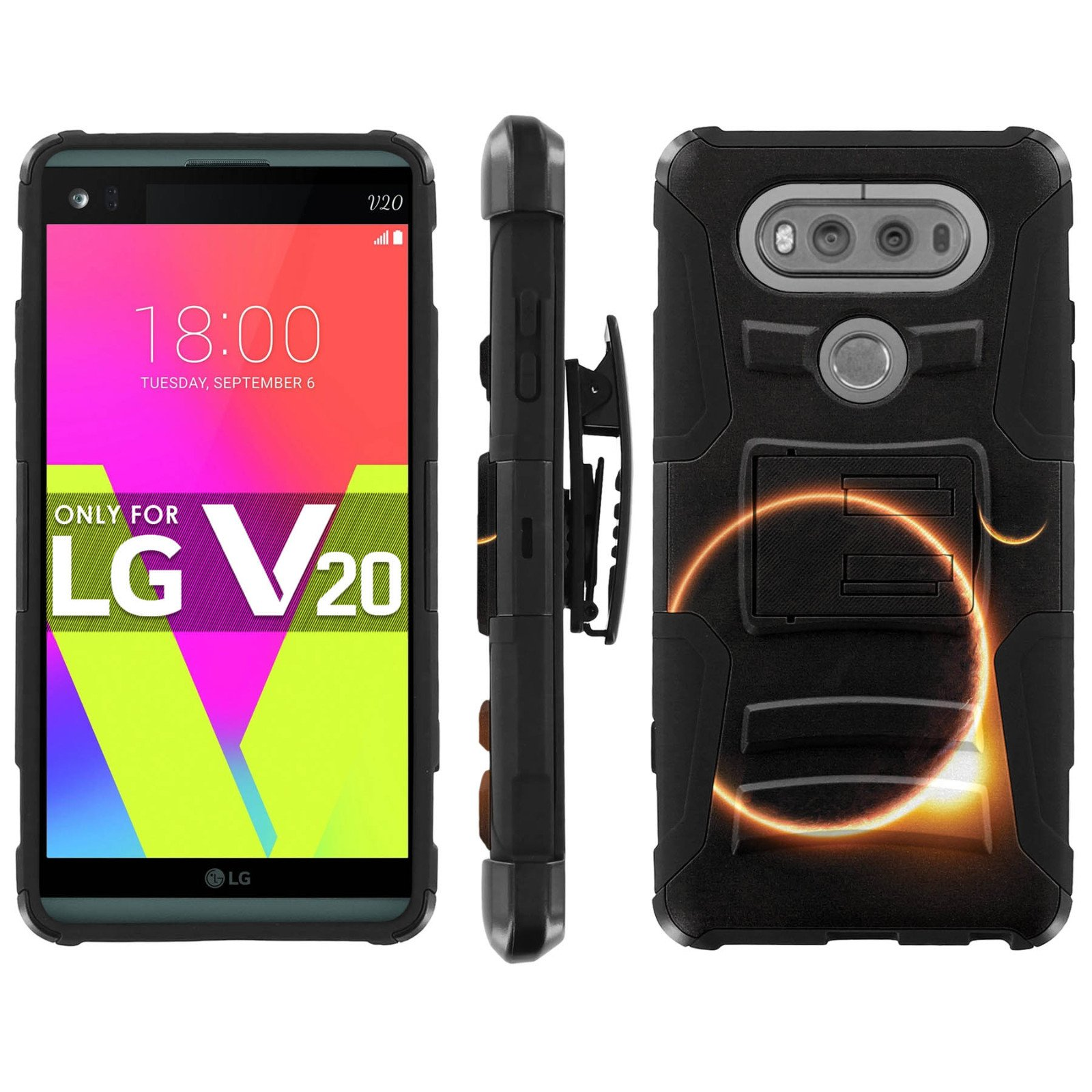 LG V20 Phone Cover, Solar Eclipse- Black Blitz Hybrid Armor Phone Case for [LG V20] with [Kickstand and Holster]