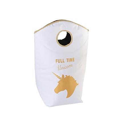 Unicornio Ropa funda blanco + Dorado Unicorn de Print aprox. 60 L – Cesto para