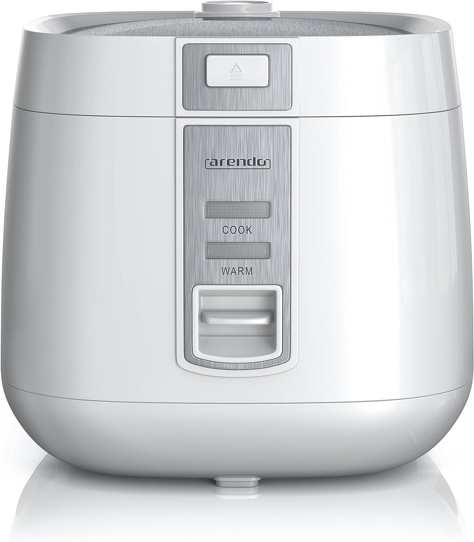 arendo - Cuiseur de Riz cuiseur à Vapeur - Riz Cook à Home - capacité de 1,4 l - avec Pot intérieur antiadhésif Amovible, Couvercle, Bol doseur, spatule, Panier à Vapeur - 540 W - Blanc