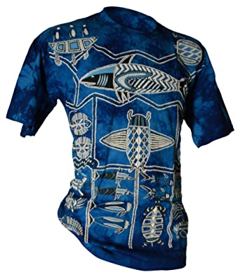 Aboriginal T-Shirt Nawallah Dreaming Batik blau - 018109220000S