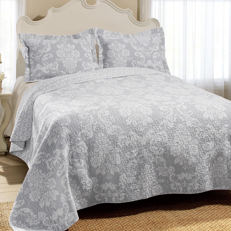 Laura Ashley Venetia Cotton Reversible Quilt, Full/Queen, Gray