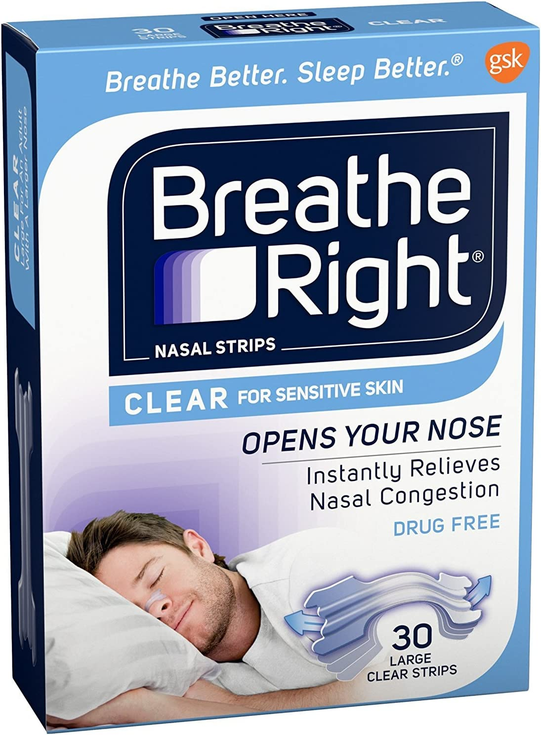 Breathe Right Nasal Strips Clear For Sensitive Skin Large 30 Each: Health & Personal Care