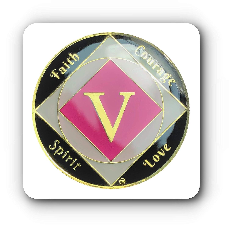 Simply Minimal ™ na 14 KゴールドメッキNarcotics匿名リカバリ3d Raised Text、トリプルクリアエポキシ樹脂コーティングプレミアム品質5年Sober Medallionトークン B07DD41NYR
