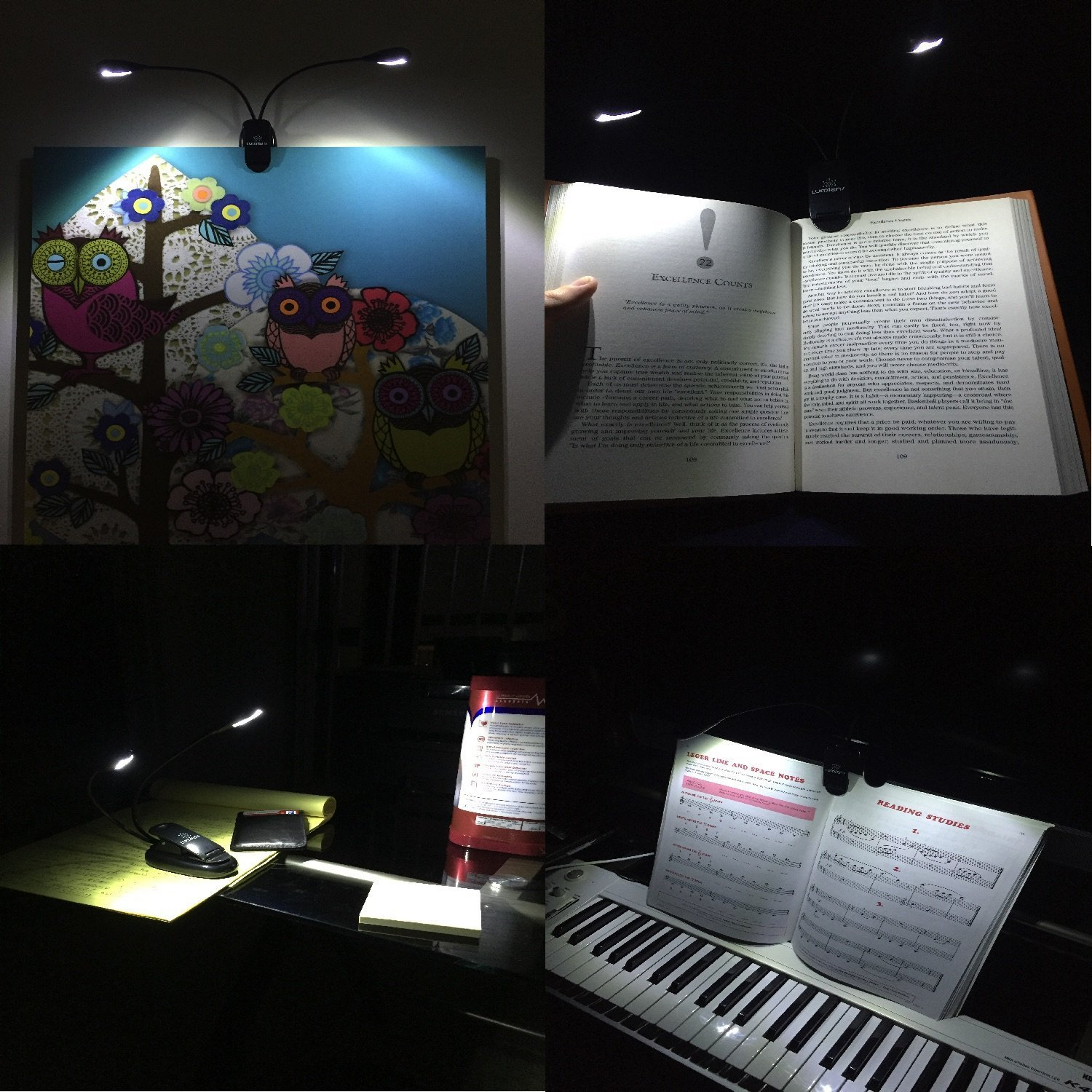 lumiens l2 music stand light clip on book reading