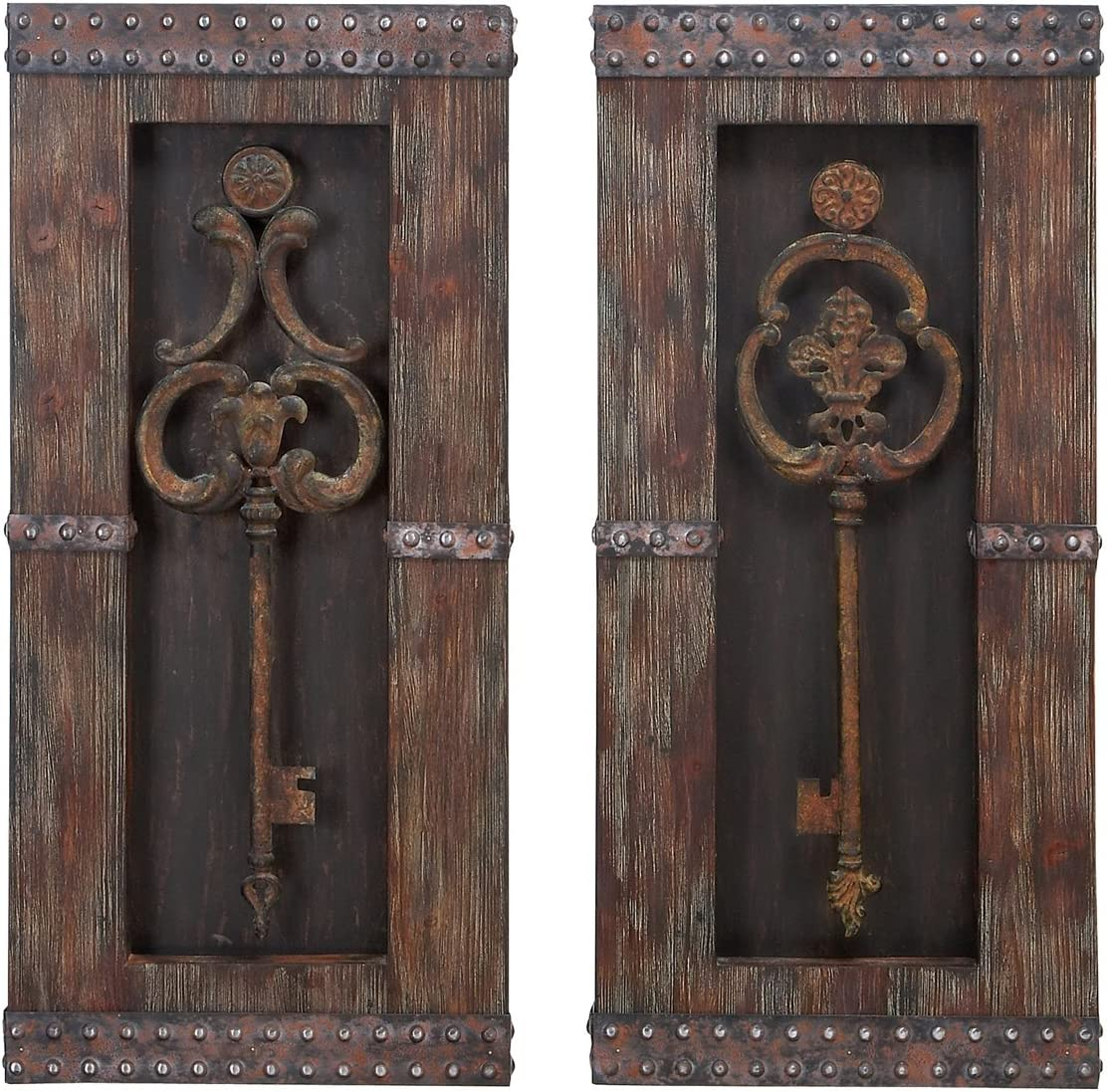Urban Designs 2 Piece Vintage Metal Keys Wall Art Decor Set, Brown