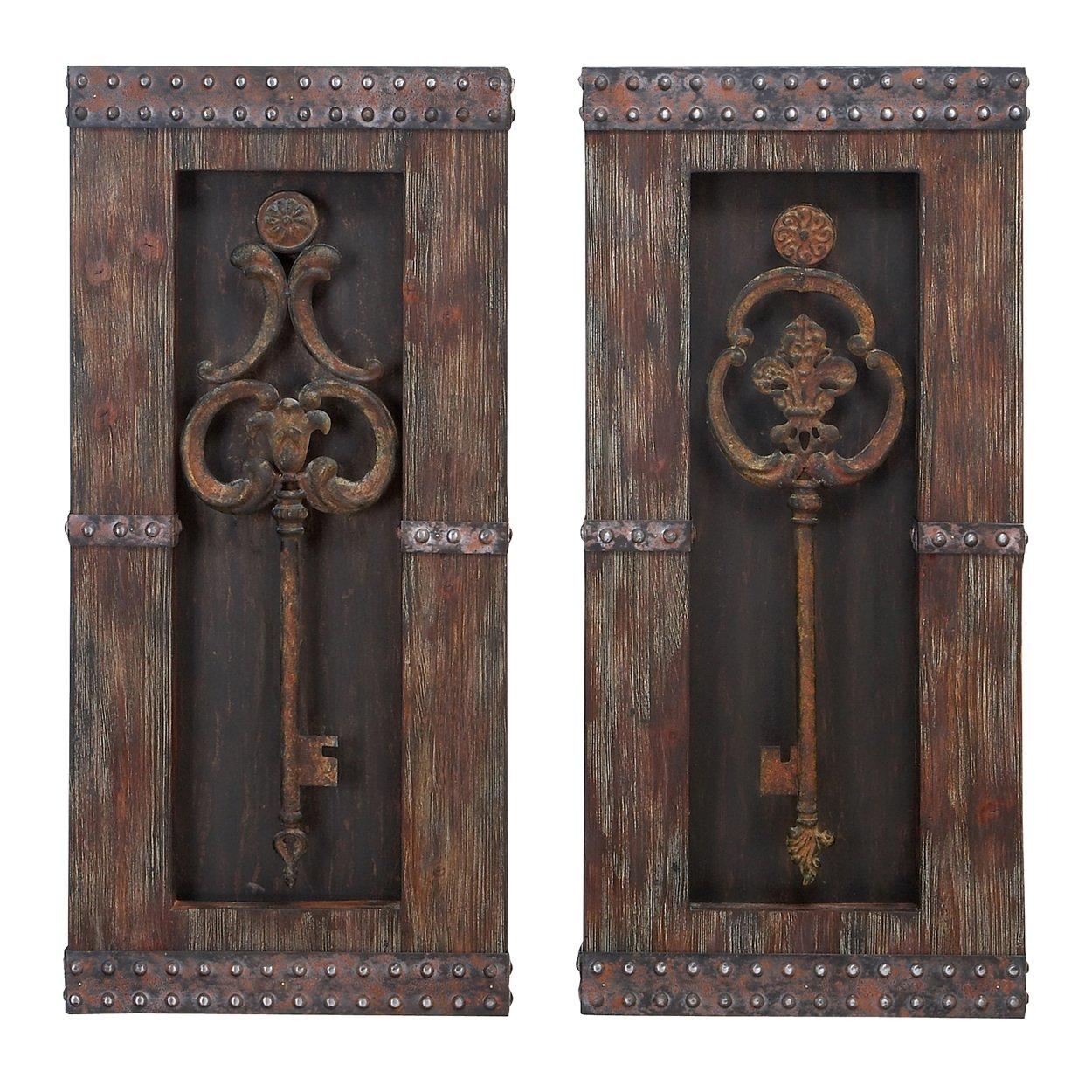 Urban Designs 2 Piece Vintage Metal Keys Wall Art Decor Set Brown 7720486