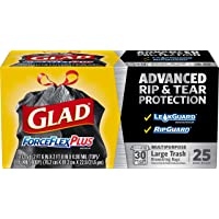 Deals on 3 Glad ForceFlexPlus Black Large Drawstring Trash Bags, 30 Gal