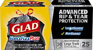 Glad Large Drawstring Trash Bags ForceFlexPlus 30 Gallon Black Trash Bag - 25 Count (Package May Vary)