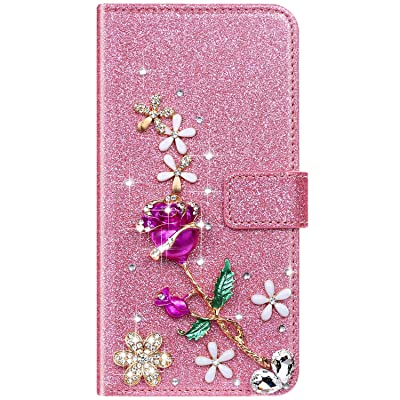 IKASEFU Compatible with Samsung Galaxy S5 Case Shiny Rhinestone Diamond Rose Flower Sparkly Bling Glitter Crystal Pu Leather Wallet With Card Holder Magnetic Flip Protective Cover Case Pink: Musical Instruments