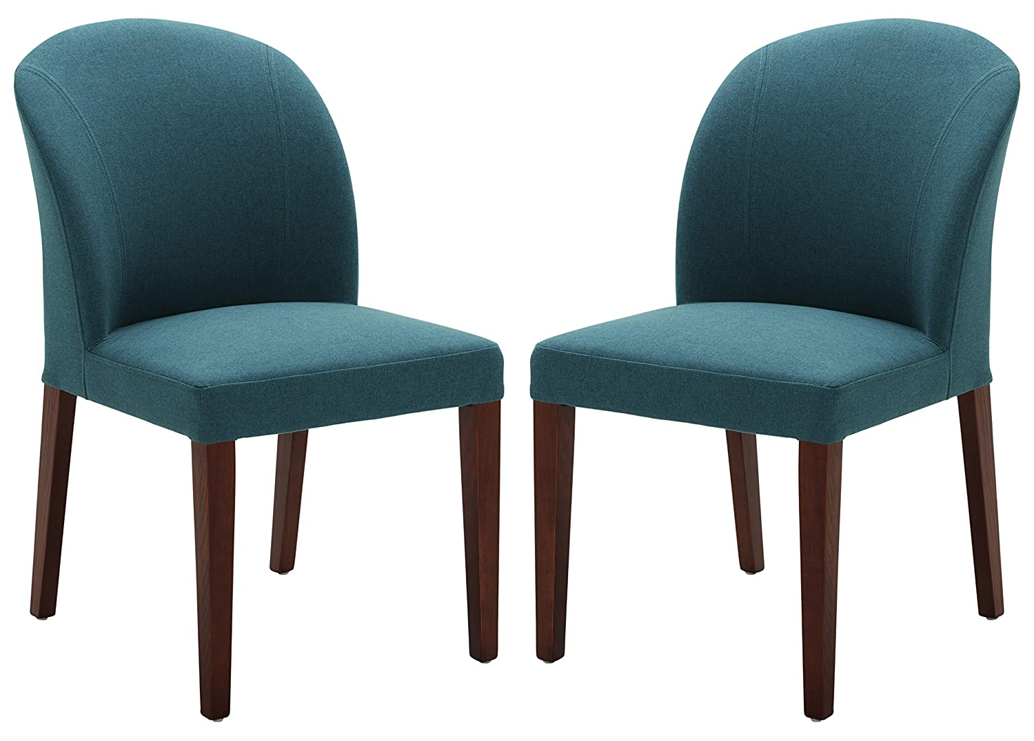 Rivet Contemporary Curved-Back Armless Dining Chair, 35 H, Aqua, Set of 2
