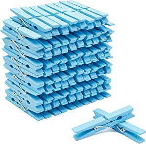 Juvale Wooden Clothespins for Baby Shower and Hanging (4-inch, Blue, 100-Pack)