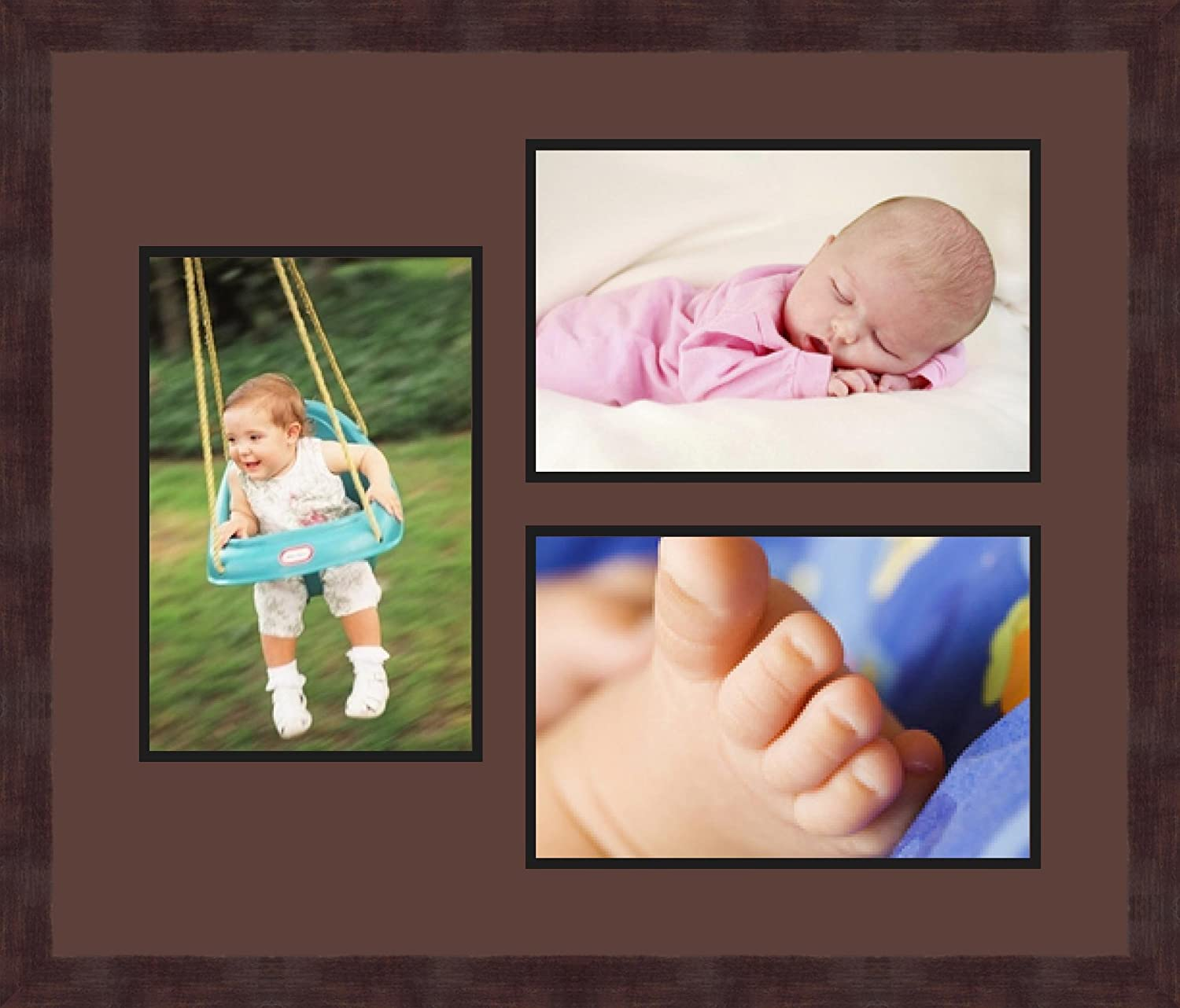 Art to Frames Double-Multimat-677-736//89-FRBW26061 Collage Frame Photo Mat Double Mat with 3-8x12 Openings and Espresso Frame