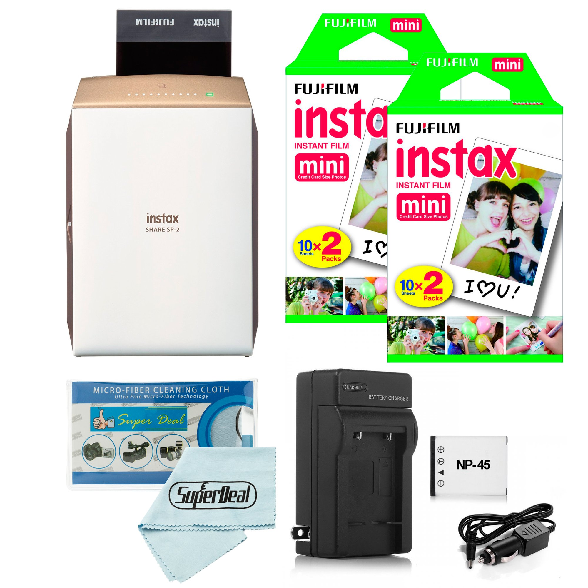 Fujifilm instax SHARE Smartphone Printer SP-2 (Gold) + Fujifilm Mini Twin Pack (40 Shots) + Travel Charger & Extra Battery + Cleaning Cloth by Fujifilm