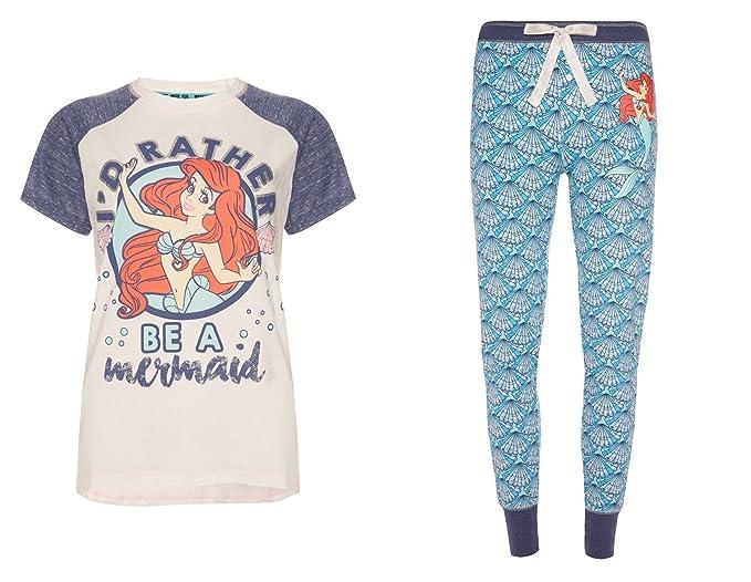 Señoras Niñas Disney Ariel la Sirenita pijama algodón Disney blanco Blue/White M
