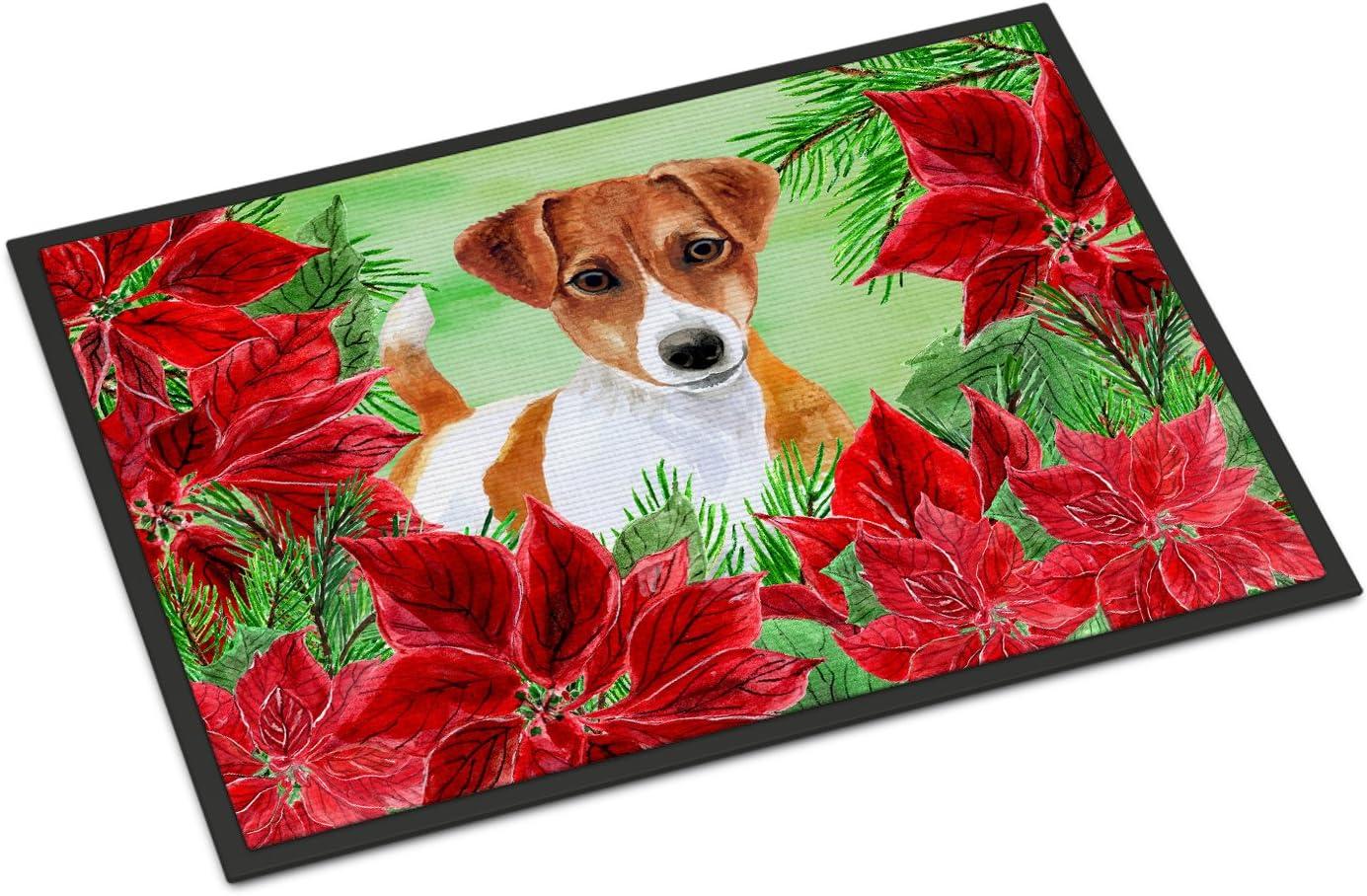 Carolines Treasures Bull Terrier Poinsettias Floor Mat 19 x 27 Multicolor