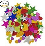 Deryun 1.9 Ounce 150 pieces Foam Glitter Stickers, Star and Mini Heart Shapes