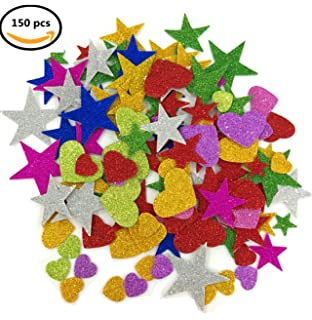 deryun 19 ounce 150 pieces foam glitter stickers star and mini heart shapes