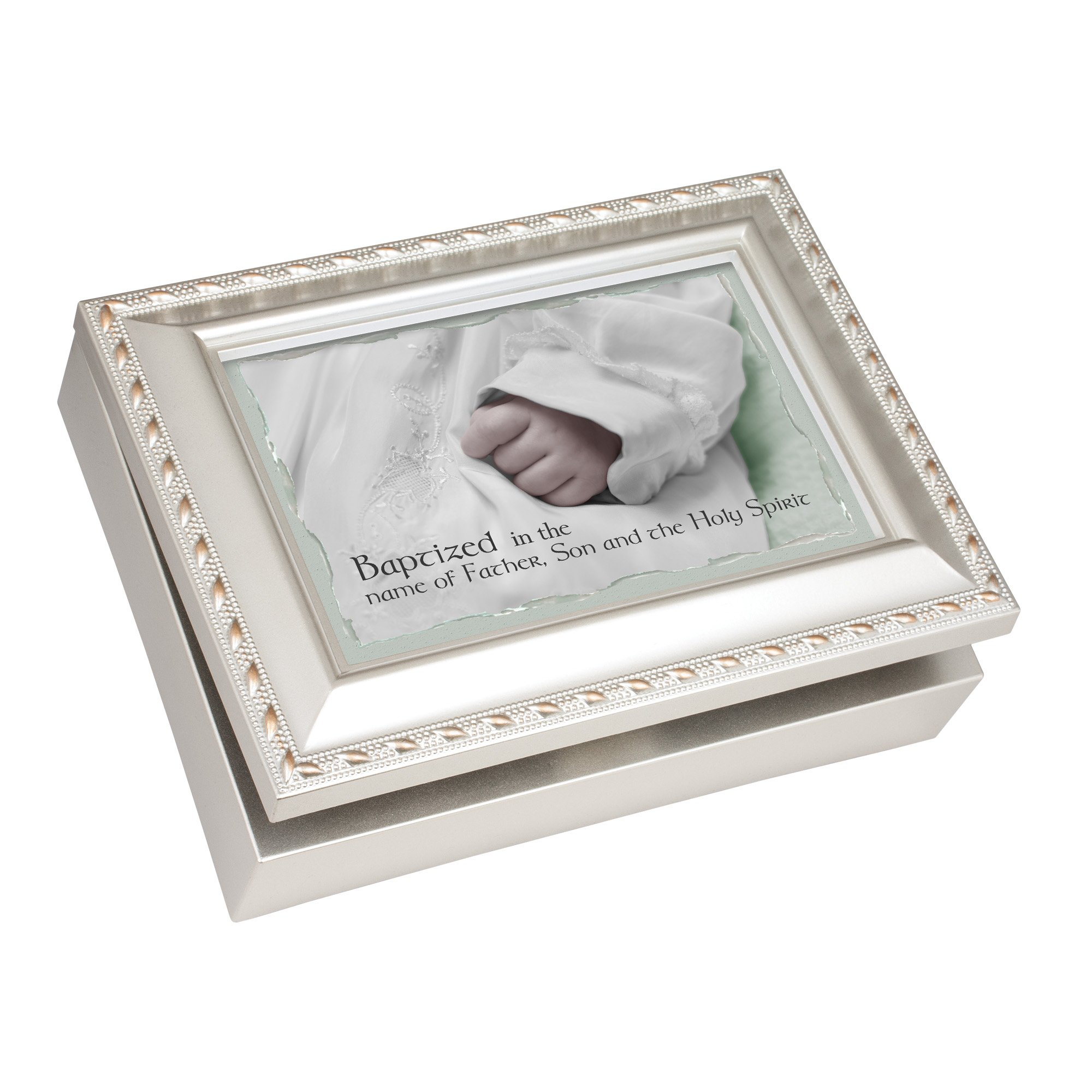 Baptized Father Son Holy Spirit 8 x 6 Inch Champagne Silver Keepsake Music Jewelry Box Plays Jesus Loves Me
