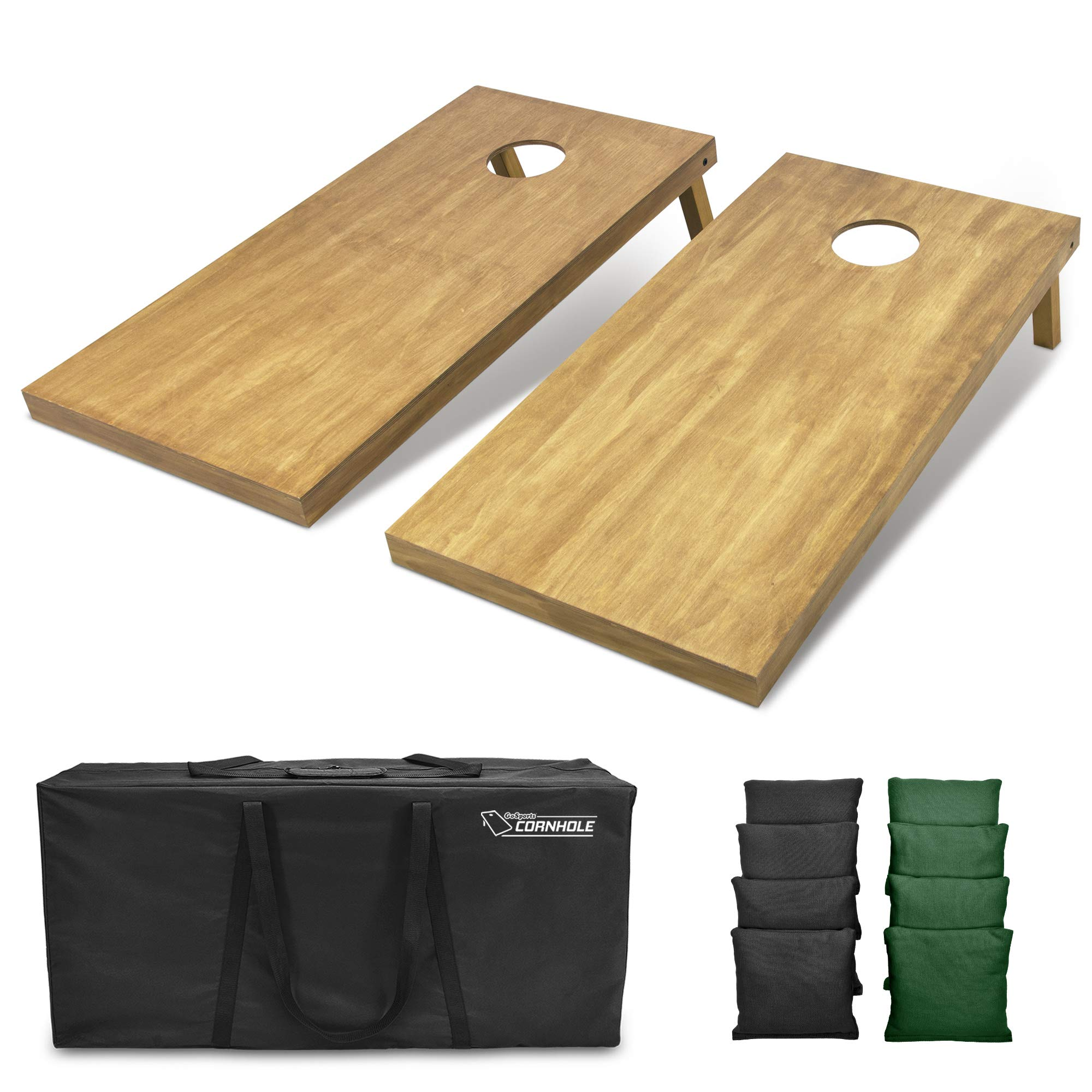 GoSports 4'x2' Regulation Size Wooden Cornhole Boards Set | Includes Carrying Case and Bean Bags (Choose Your Colors) Over 100 Color Combinations