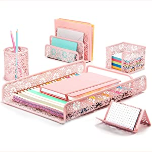 Hudstill Pink Cute Desk Organizer Set for Women and Girls in Sunflower Design with 5 Pieces : File Tray, Mail Organizer, Pen Cup, Sticky Notes Holder and Business Card Holder