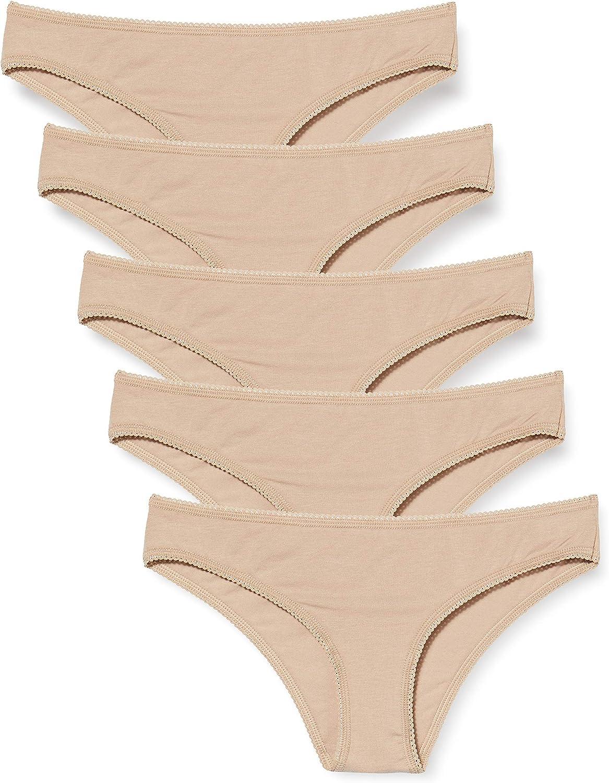 Amazon-Marke: Iris & Lilly Damen Brazilian Slip aus Baumwolle, 3er-Pack