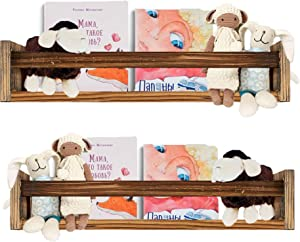 Cocomong Wood Floating Nursery Shelves Set of 2, Book Shelf Organizer for Kids, Wall Mounted Farmhouse Floating Bookshelves, Decorative Hanging Shelf for Baby Nursery Room Decor, Brown