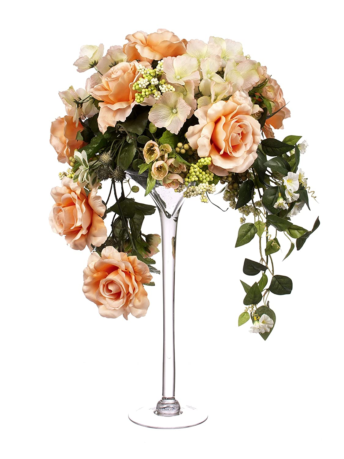 Closer2Nature 60cm Trailing Coral Rose Display in Tall Martini Glass ...