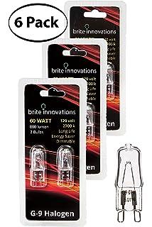 Brite Innovations G9 Halogen Bulb, 60 Watt – 6 Pack – Energy Saving - Dimmable