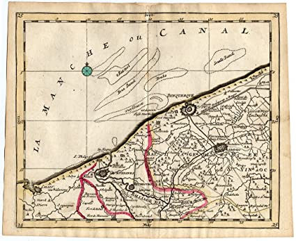 Map Of France Dunkirk.Amazon Com Rare Antique Map 25 France Dunkirk Calais Gravelines