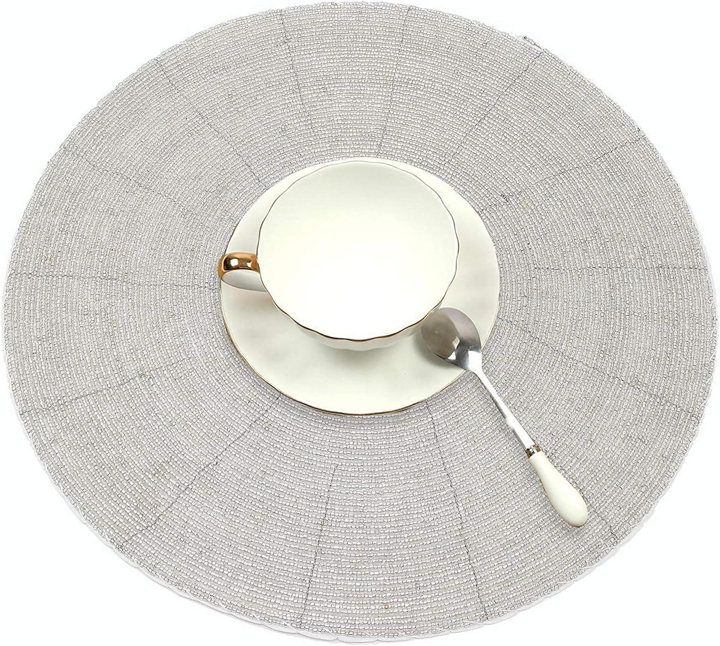 - Largo 30 cmIntrecciata Bicchiere in Rilievo e Moderno Argento Cenare Tavolo Stuoia Interno o Allaperto 4 Pack SKAVIJ Il Giro Tavolo tovagliette Protegge Il Tuo da Tavolo