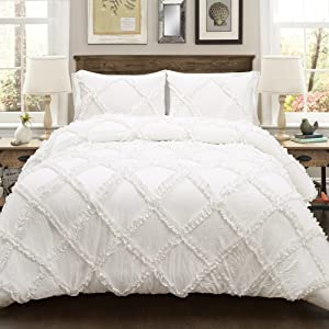 Lush Decor Lush Décor Ruffle Diamond 3 Piece Comforter Set, King, White