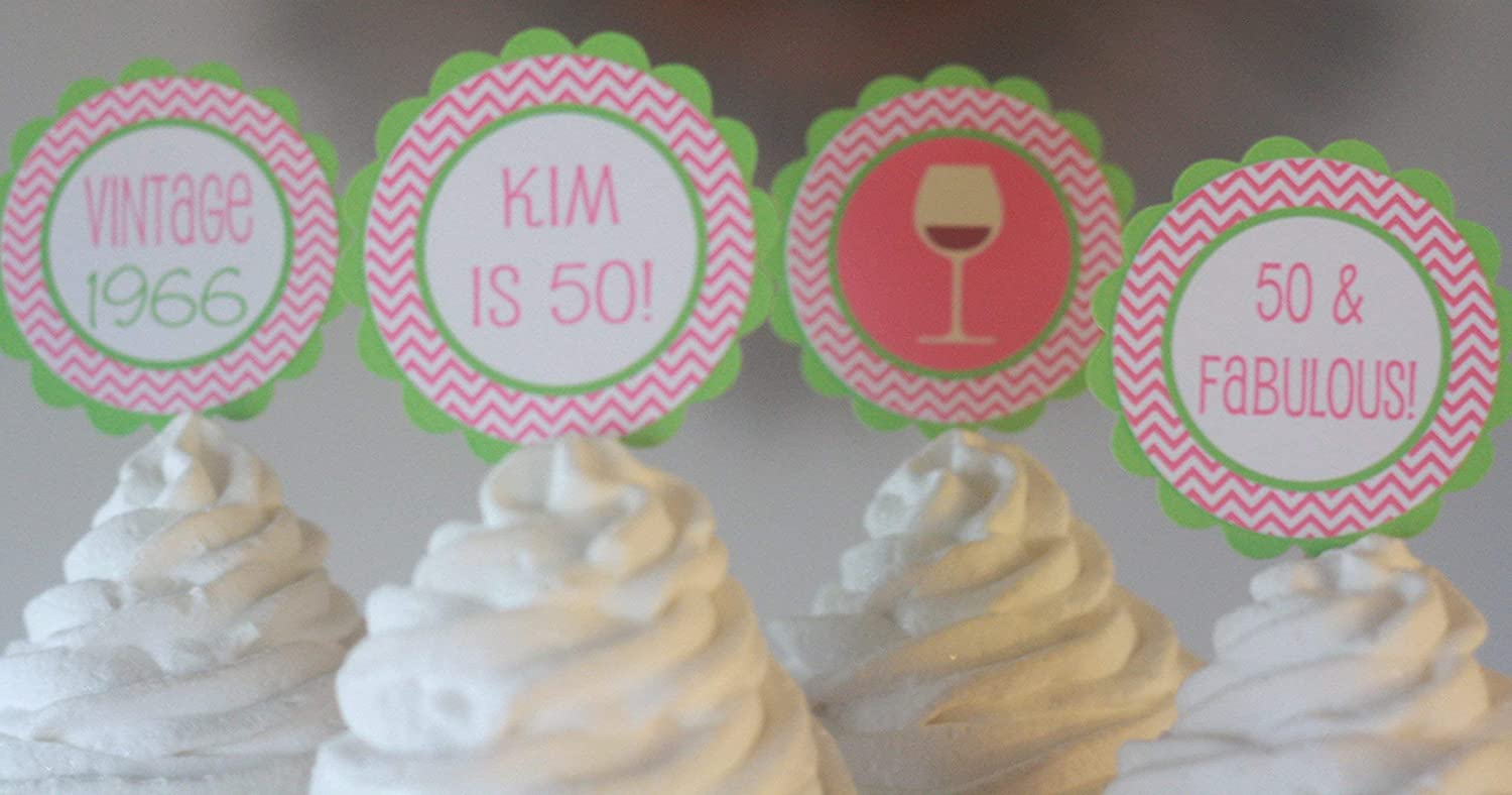 Tags 12 Banners 40 30 50 Lime Green /& Hot Pink Chevron Martini Wine Glass Cocktail Over the Hill Chevron Happy 21 60 Birthday Cupcake Toppers Party Packages Door Signs Available