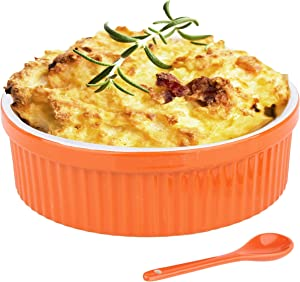 Souffle Dish Ramekins for Baking – 32 Oz, 1 Quart Large Ceramic Oven Safe Round Fluted Bowl with Mini Condiment Spoon for Soufflé Pot Pie Casserole Pasta Roasted Vegetables Baked Desserts (Orange Set)