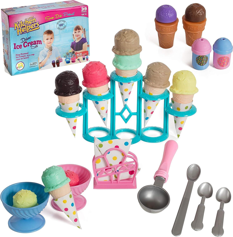 IQ Toys Pretend Play Yummy Ice Cream Stand Set, 39 Piece Realistic Playset