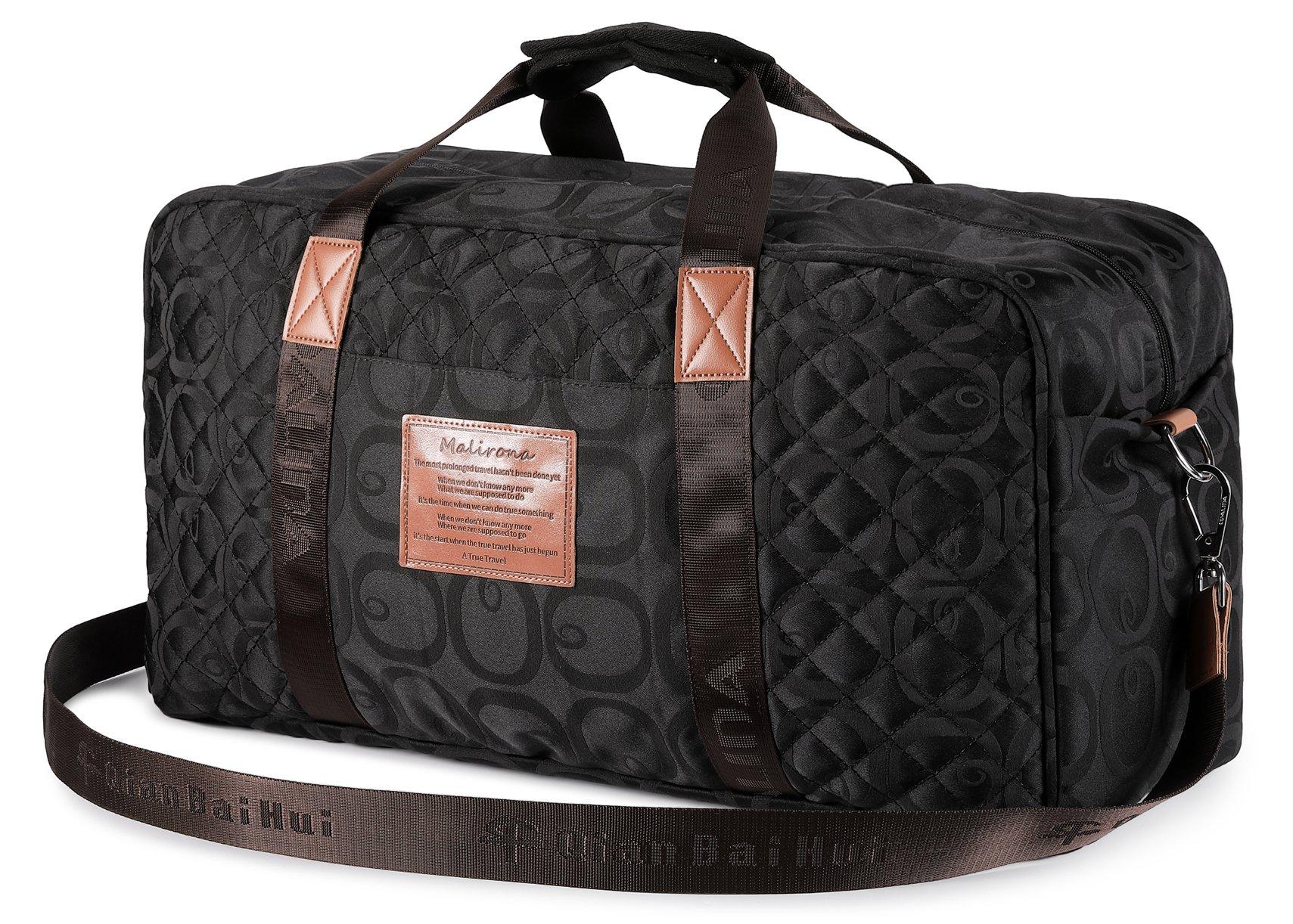 Malirona Canvas Weekender Bag Travel Duffel Bag for Weekend Overnight Trip (Seasonal Flowers Black)