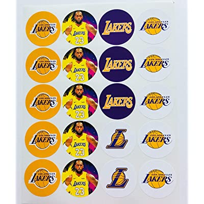 "Set of 20 Decals LA Lakers 2"" Each Adhesive Sticker for Cups, Bags, lockers, Water Bottles, laptops: Kitchen & Dining"