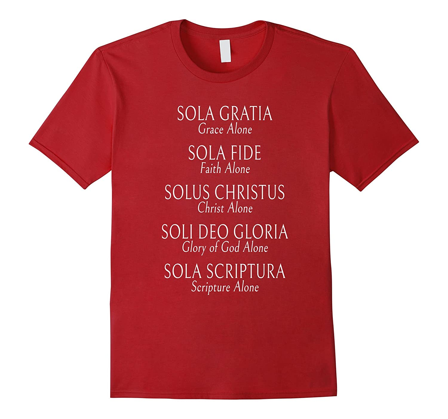 5 Solas T-Shirt Reformed T-Shirt Christian Theology Tee all