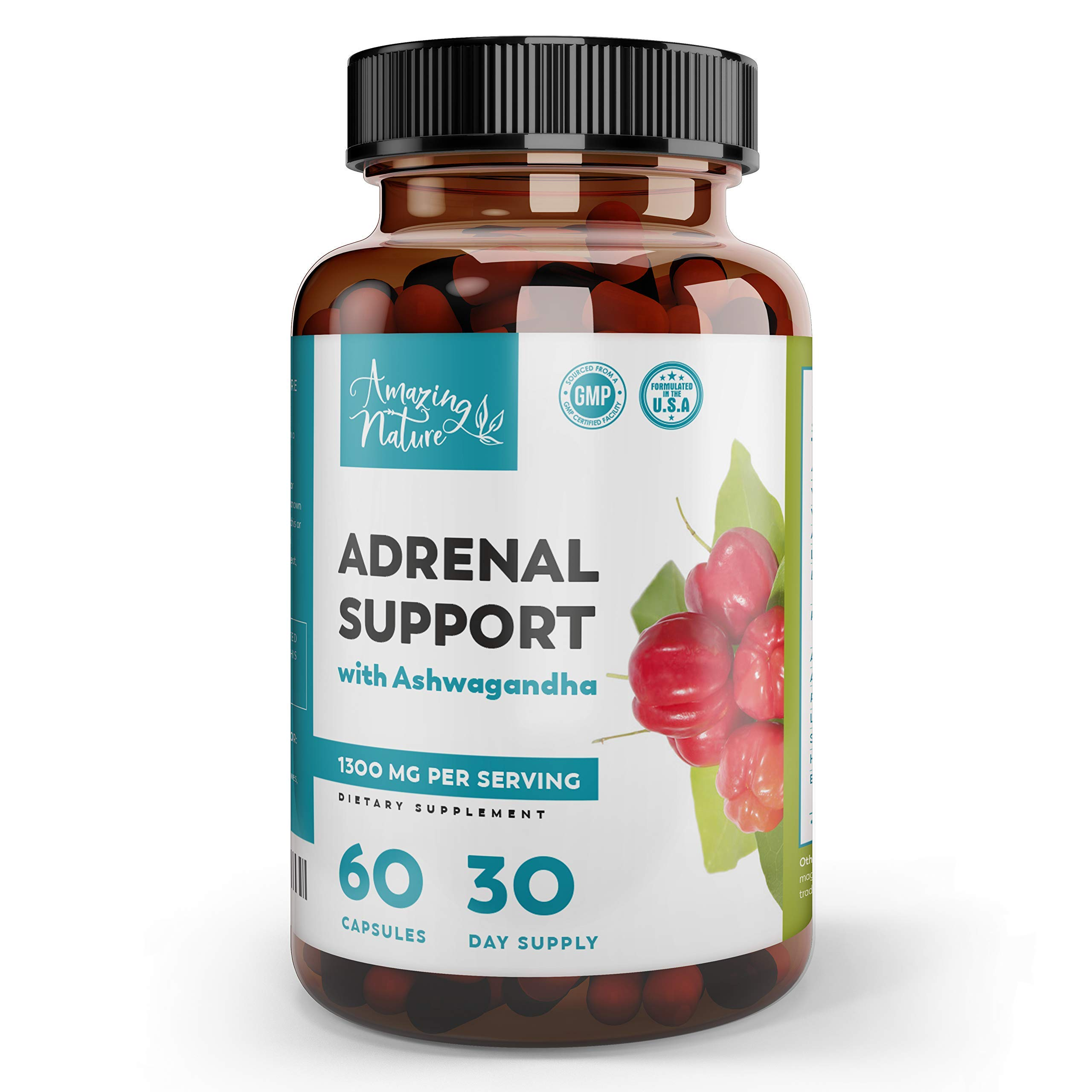 Adrenal Support & Cortisol Manager - Best Stress Relief Supplements for Adrenal Fatigue, Improved Mood & Focus & Energy Pills with Adaptogenic Herbs - Ashwaganda, Rhodiola Rosea, Ginseng, Licorice