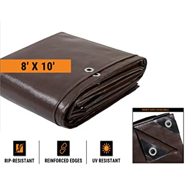 8' x 10' Super Heavy Duty 16 Mil Brown Poly Tarp Cover - Thick Waterproof, UV Resistant, Rot, Rip and Tear Proof Tarpaulin with Grommets and Reinforced Edges - by Xpose Safety