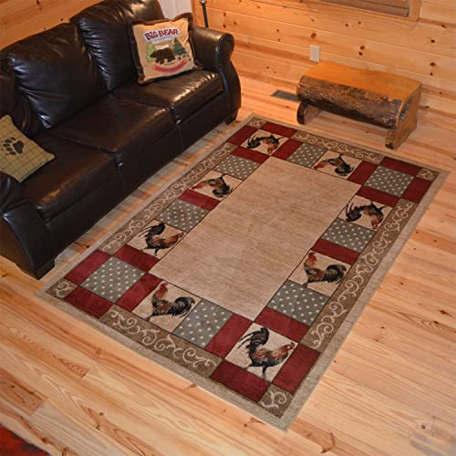 Rug Empire Rustic Lodge Rooster Area Rug 7 10 W x 9 10 L, Beige
