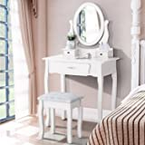 UEnjoy White Dressing Table With Mirror and Stool, Makeup Desk Vanity Table Set 3 Drawers Bedroom Furniture