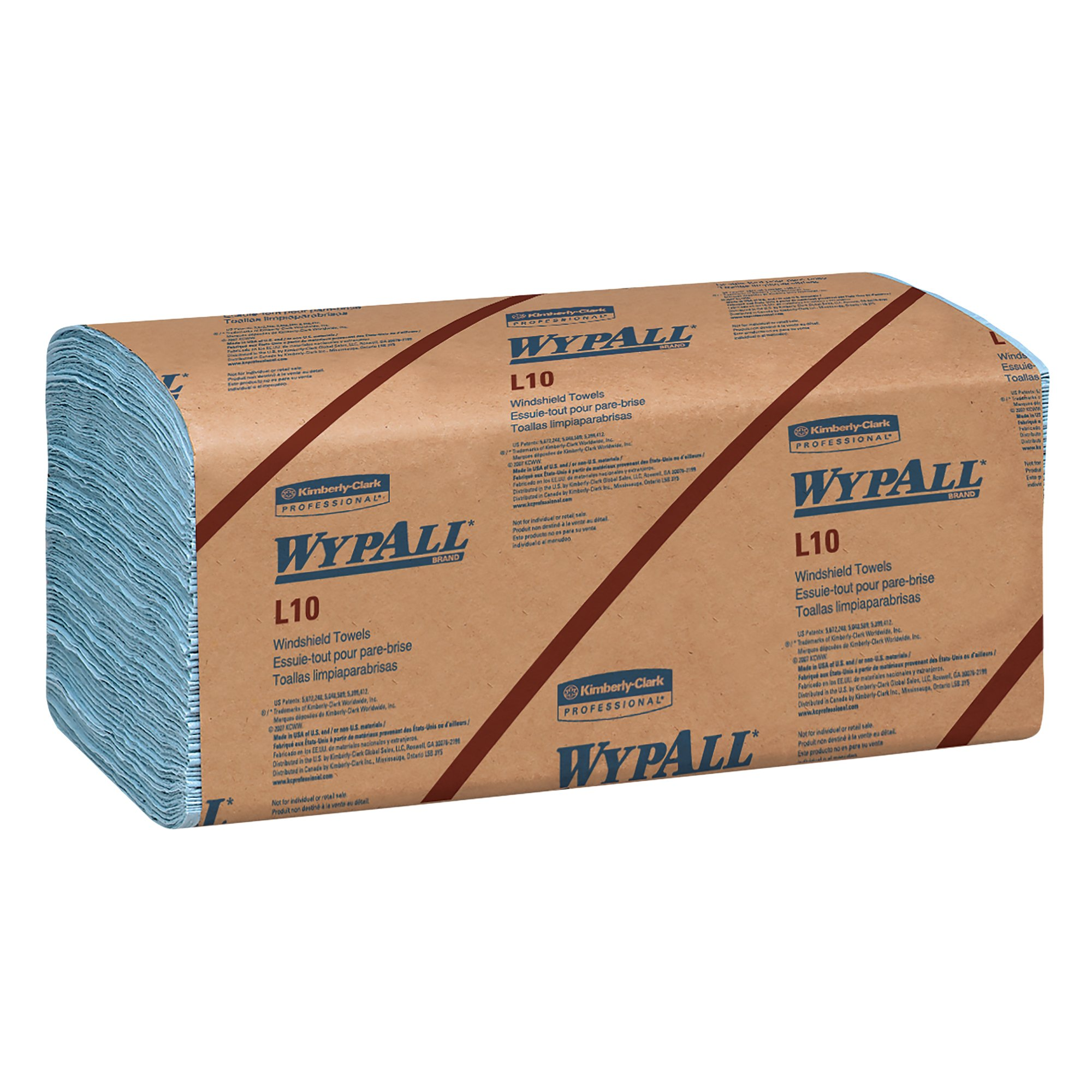 Wypall L10 Disposable Towels (05123), Windshield Wipe, 1-PLY, Banded, Blue, 12 Packs / Case, 200 Wipes / Pack, 2,400 Sheets / Case