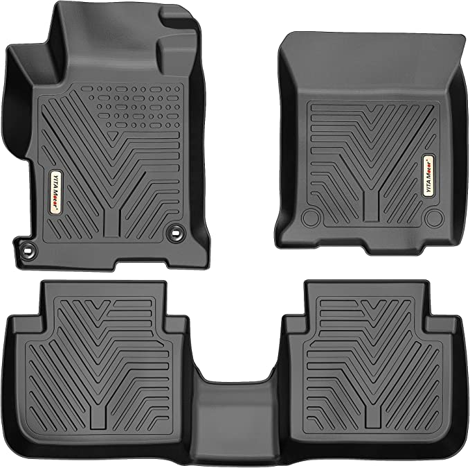 Custom Car Floor Mats for Honda Accord Ⅸ 2014-2017 Luxury Leather Waterproof Anti-Skid Full Coverage Liner Front & Rear Mat//Set Coffee Color