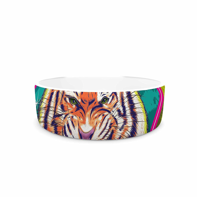 KESS InHouse Roberlan Super Furry Tiger Warrior  Green orange Pet Bowl, 7
